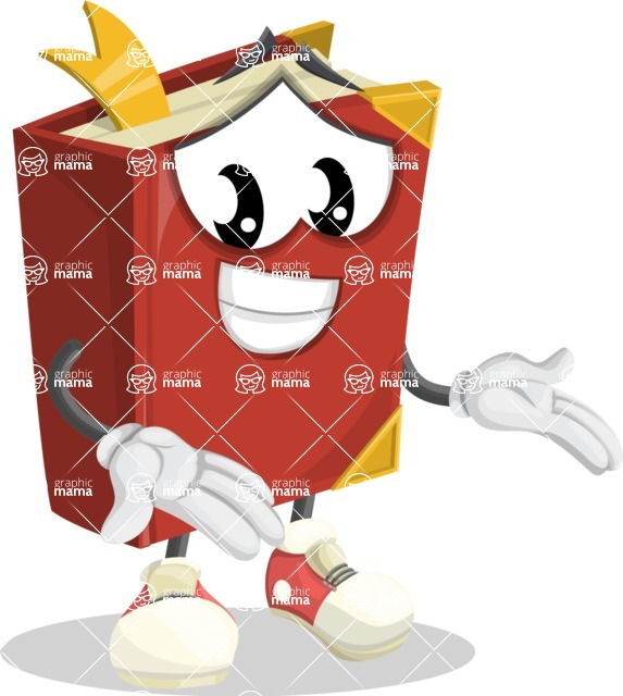 Cute Book Cartoon Vector Character AKA Bookie Paperson - Showing with Both Hands