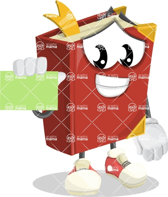 Cute Book Cartoon Vector Character AKA Bookie Paperson - With a Blank Business card