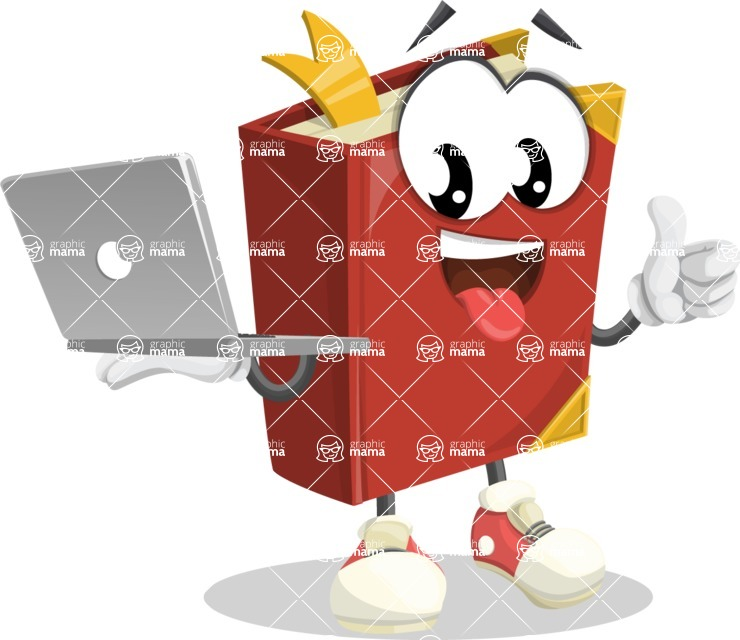 Cute Book Cartoon Vector Character AKA Bookie Paperson - With a Laptop