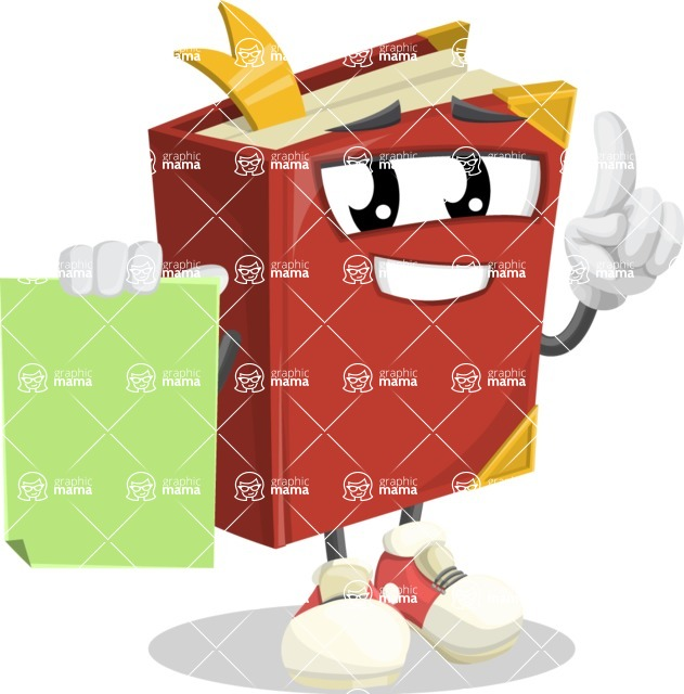 Cute Book Cartoon Vector Character AKA Bookie Paperson - With Blank Paper