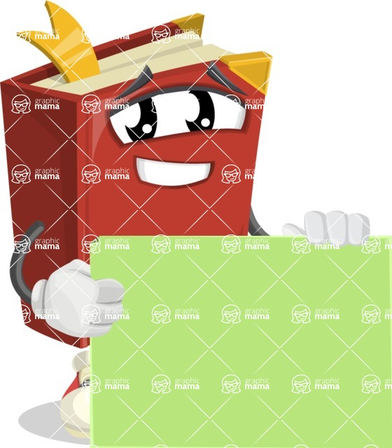 Cute Book Cartoon Vector Character AKA Bookie Paperson - With Blank Sign Template