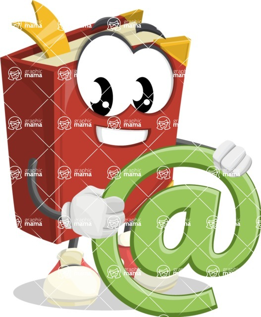 Cute Book Cartoon Vector Character AKA Bookie Paperson - With Email Sign - Web