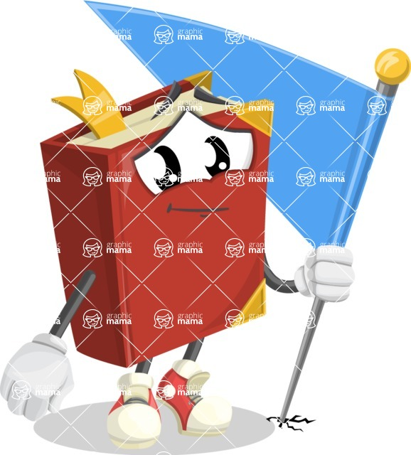 Cute Book Cartoon Vector Character AKA Bookie Paperson - with Flag