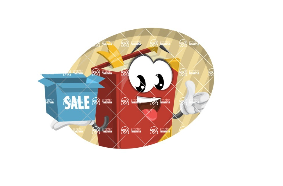 Cute Book Cartoon Vector Character AKA Bookie Paperson - With Sale Box and Flat Background Illustration