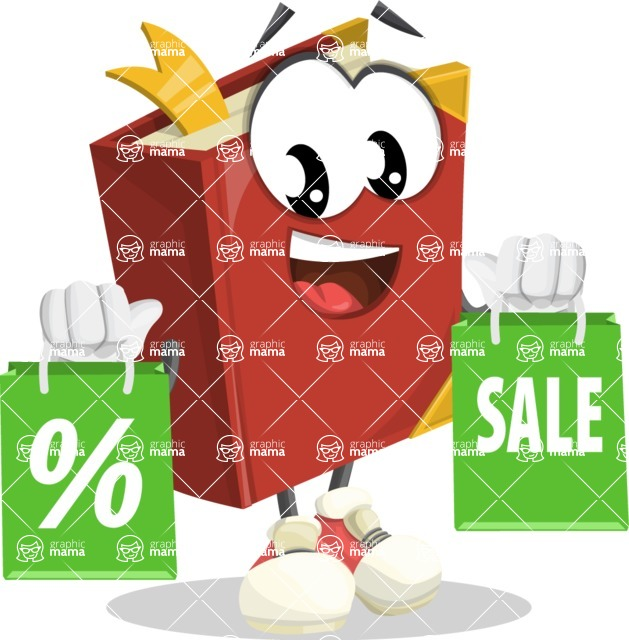 Cute Book Cartoon Vector Character AKA Bookie Paperson - With Shopping Bags