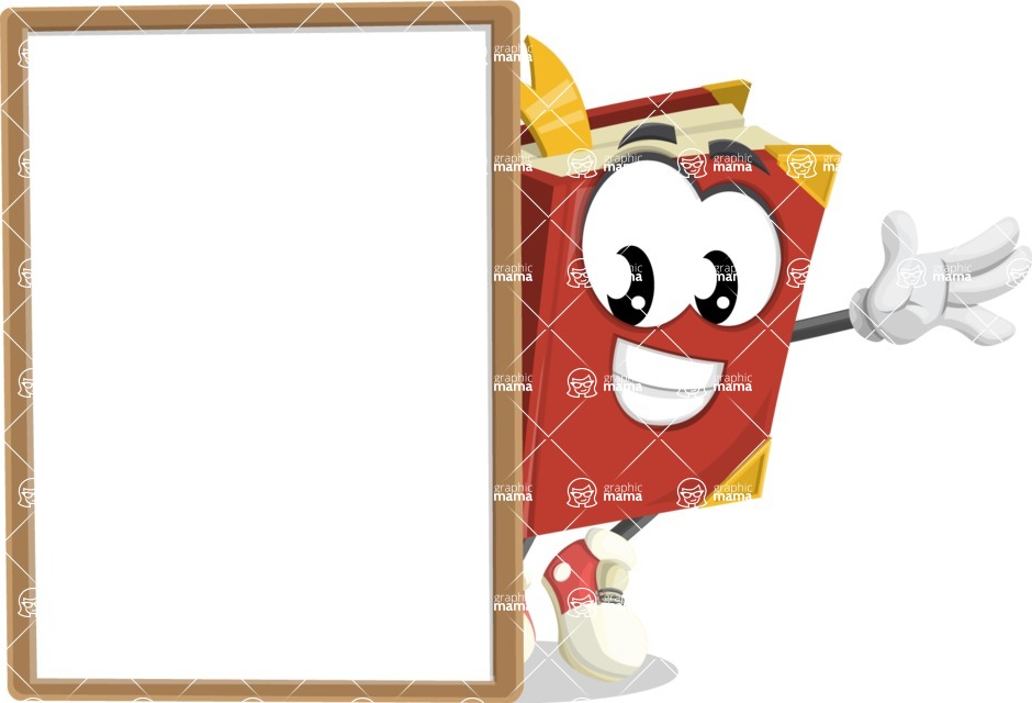 Cute Book Cartoon Vector Character AKA Bookie Paperson - With Whiteboard and Smiling