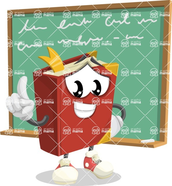 Cute Book Cartoon Vector Character AKA Bookie Paperson - Wwiting on School Board Illustration