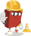 Cute Book Cartoon Vector Character AKA Bookie Paperson - as a Construction worker