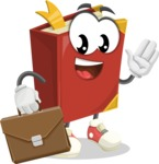 Cute Book Cartoon Vector Character AKA Bookie Paperson - Being Businessman with Briefcase