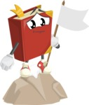Cute Book Cartoon Vector Character AKA Bookie Paperson - Being Successful on Top