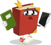 Cute Book Cartoon Vector Character AKA Bookie Paperson - Choosing between Book and Tablet