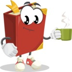 Cute Book Cartoon Vector Character AKA Bookie Paperson - Drinking Cup of Coffee
