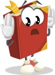 Cute Book Cartoon Vector Character AKA Bookie Paperson - Feeling Confused