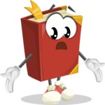 Cute Book Cartoon Vector Character AKA Bookie Paperson - Feeling Lost with Sad Face