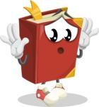Cute Book Cartoon Vector Character AKA Bookie Paperson - Feeling Shocked