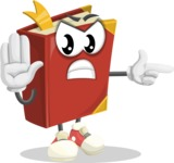 Cute Book Cartoon Vector Character AKA Bookie Paperson - Finger pointing with angry face