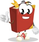 Cute Book Cartoon Vector Character AKA Bookie Paperson - Giving Thumbs Up