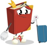 Cute Book Cartoon Vector Character AKA Bookie Paperson - Going to vacation with a Suitcase