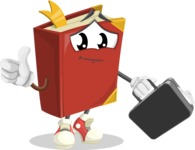 Cute Book Cartoon Vector Character AKA Bookie Paperson - Holding a Brifcase