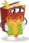 Cute Book Cartoon Vector Character AKA Bookie Paperson - Holding a Gift