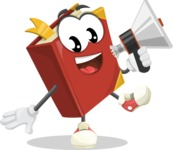 Cute Book Cartoon Vector Character AKA Bookie Paperson - Holding a Loudspeaker