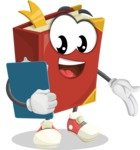 Cute Book Cartoon Vector Character AKA Bookie Paperson - Holding a Notepad