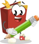 Cute Book Cartoon Vector Character AKA Bookie Paperson - Holding a Pencil