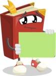 Cute Book Cartoon Vector Character AKA Bookie Paperson - Holding Blank Presentation Sign