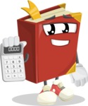 Cute Book Cartoon Vector Character AKA Bookie Paperson - Holding Calculator