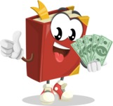 Cute Book Cartoon Vector Character AKA Bookie Paperson - Holding Cash Money Banknotes