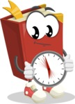 Cute Book Cartoon Vector Character AKA Bookie Paperson - Holding clock