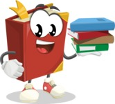 Cute Book Cartoon Vector Character AKA Bookie Paperson - Holding Education Books