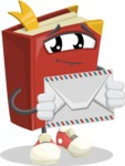 Cute Book Cartoon Vector Character AKA Bookie Paperson - Holding Mail Envelope