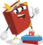 Cute Book Cartoon Vector Character AKA Bookie Paperson - Learning From Books