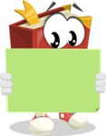 Cute Book Cartoon Vector Character AKA Bookie Paperson - Looking At Blank Sign