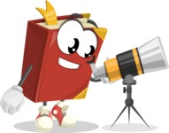 Cute Book Cartoon Vector Character AKA Bookie Paperson - Looking through telescope