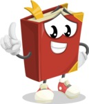 Cute Book Cartoon Vector Character AKA Bookie Paperson - Making a Point