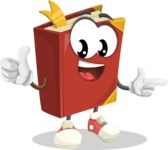 Cute Book Cartoon Vector Character AKA Bookie Paperson - Pointing and Smiling