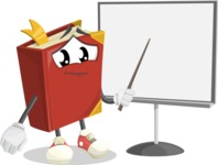 Cute Book Cartoon Vector Character AKA Bookie Paperson - Pointing with a Pointer on Blank Presentation Board