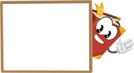 Cute Book Cartoon Vector Character AKA Bookie Paperson - Presenting on Blank Whiteboard Template