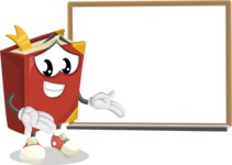 Cute Book Cartoon Vector Character AKA Bookie Paperson - Presenting on Whiteboard