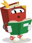 Cute Book Cartoon Vector Character AKA Bookie Paperson - Reading a Book