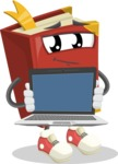 Cute Book Cartoon Vector Character AKA Bookie Paperson - Showing a Blank Computer Screen