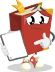 Cute Book Cartoon Vector Character AKA Bookie Paperson - Showing a Notepad