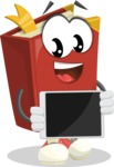 Cute Book Cartoon Vector Character AKA Bookie Paperson - Showing Blank Tablet
