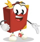 Cute Book Cartoon Vector Character AKA Bookie Paperson - Showing with a Hand