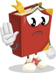 Cute Book Cartoon Vector Character AKA Bookie Paperson - Waving for Goodbye with a Hand