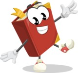 Cute Book Cartoon Vector Character AKA Bookie Paperson - Waving with a Hand