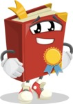 Cute Book Cartoon Vector Character AKA Bookie Paperson - Winning a Prize