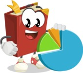 Cute Book Cartoon Vector Character AKA Bookie Paperson - With a Business Pie Chart
